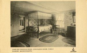 Postcard of interior of John Alden House Duxbury, Mass.