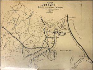 Black and white map of Duxbury
