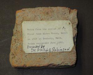 Fragment of brick from the Alden homesite.