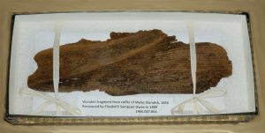 Wooden fragment from the grave of Myles Standish