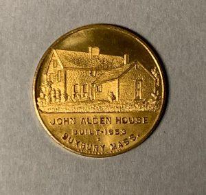 Golden coin, Tercentenary, Duxbury, Massachusetts (back view)