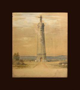 Painting of the Myles Standish Monument in Duxbury, Massachusetts