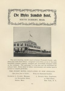 Advertisement for the Myles Standish Hotel, South Duxbury, Mass.