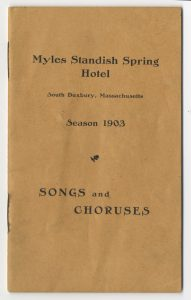 Song book for Myles Standish Spring Hotel