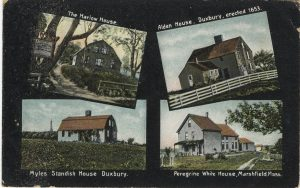 Postcard with four images of historic houses on South Shore of Mass.