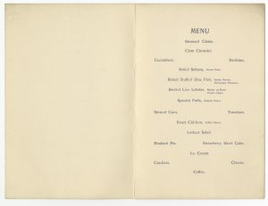 Printed menu for the Myles Standish Hotel, Duxbury, Massachusetts