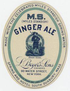 Green ginger ale oval paper bottle label