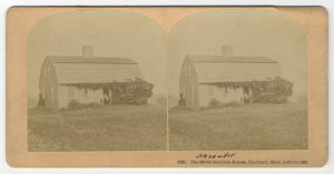 Double image of a saltbox house, Standish House, Duxbury, Mass.