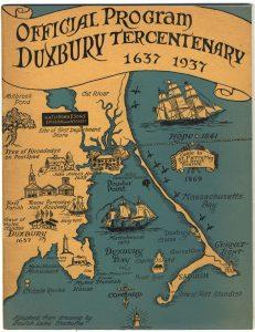 Printed program for Duxbury Tercentenary 1937 map of Duxbury with cartoon features