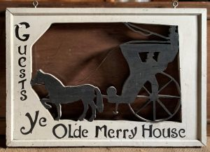 White Trade sign with horse and carriage